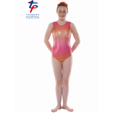 New Kaleidoscope Range - Ombre Pink and Orange Hologram Shine Short Sleeved Leotard