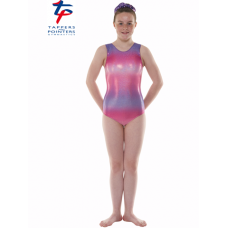 New Kaleidoscope Range - Ombre Pink and Purple Hologram Shine Short Sleeved Leotard