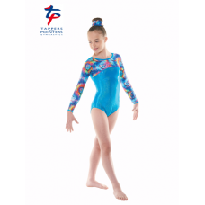 New Kaleidoscope Range - Turquoise Hologram Shine/Aqua Hologram Meteor Long Sleeved Leotard