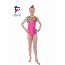 New Kaleidoscope Range - Pink Hologram Shine/Tropical Fantasy Starburst Short Sleeved Leotard