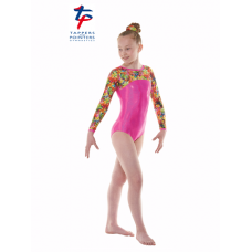 New Kaleidoscope Range - Pink Hologram Shine/Tropical Fantasy Starburst Long Sleeved Leotard