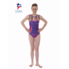 New Kaleidoscope Range - Joker Purple Shine/Streaky Rainbow Short Sleeved Leotard