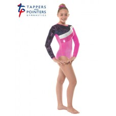 Electric Pink and Navy Smooth Hula and Cerise Foil Long Sleeved