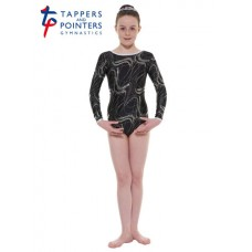 New Carnival Range - Black and Silver Hologram Twisted Foil Long Sleeved Leotard