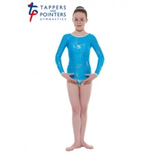 New Carnival Range - Kingfisher and Silver Hologram Twisted Foil Long Sleeved Leotard