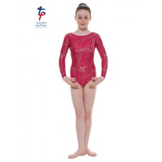 New Carnival Range - Mulberry and Silver Hologram Twisted Foil Long Sleeved Leotard