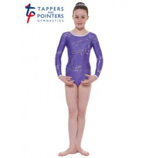 New Carnival Range - Purple and Silver Hologram Twisted Foil Long Sleeved Leotard