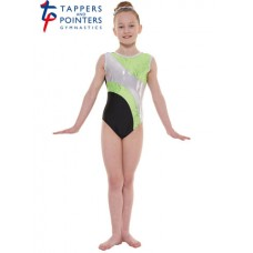 New Carnival Range - Black and Apple Scribble Silver Metallic Foil Platinum Shine Short Sleeved Leotard