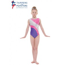 New Carnival Range - Purple and Lipstick Scribble Silver Metallic Foil Platinum Shine Short Sleeved Leotard