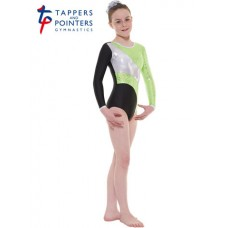 New Carnival Range - Black and Apple Scribble Silver Metallic Foil Platinum Shine Long Sleeved Leotard