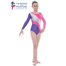 New Carnival Range - Purple and Lipstick Scribble Silver Metallic Foil Platinum Shine Long Sleeved Leotard