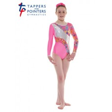 New Carnival Range - Flourescent Pink and Pink Silver Metallic Astro Foil Platinum Shine Long Sleeved Leotard