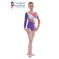 New Carnival Range - Purple and Pink Silver Metallic Astro Foil Platinum Shine Long Sleeved Leotard