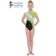New Carnival Range - Ebony and Lime Platinum Shine Short Sleeved Leotard