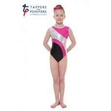 New Carnival Range - Ebony and Party Pink Platinum Shine Short Sleeved Leotard