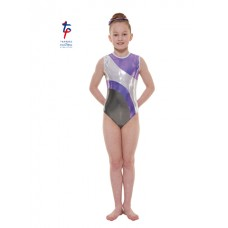 New Carnival Range - Grey and Lilac Platinum Shine Short Sleeved Leotard