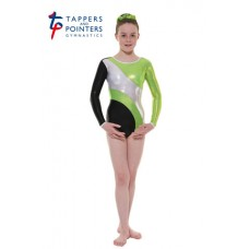 New Carnival Range - Ebony and Lime Platinum Shine Long Sleeved Leotard