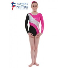 New Carnival Range - Ebony and Party Pink Platinum Shine Long Sleeved Leotard