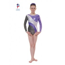 New Carnival Range - Grey and Lilac Platinum Shine Long Sleeved Leotard