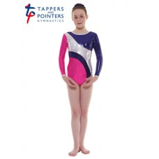 New Carnival Range - Party Pink and Sugar Plum Platinum Shine Long Sleeved Leotard