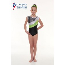 New Carnival Range - Ebony Shine and Green Cascade Hologram Foil and Silver Hologram Shine Short Sleeved Leotard