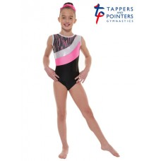 New Carnival Range - Ebony Shine and Pink Cascade Hologram Foil and Silver Hologram Shine Short Sleeved Leotard