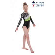 New Carnival Range - Ebony Shine and Green Cascade Hologram Foil and Silver Hologram Shine Long Sleeved Leotard