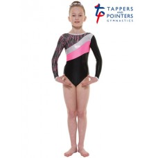 New Carnival Range - Ebony Shine and Pink Cascade Hologram Foil and Silver Hologram Shine Long Sleeved Leotard
