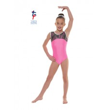 New Carnival Range - Flourescent Pink and Pink Cascade Hologram Foil Short Sleeved Leotard