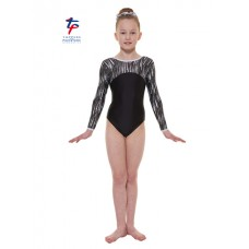 New Carnival Range - Black and Grey Cascade Hologram Foil Long Sleeved Leotard