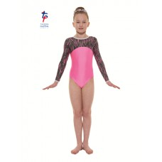 New Carnival Range - Flourescent Pink and Pink Cascade Hologram Foil Long Sleeved Leotard