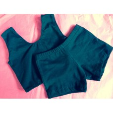 Cotton Spandex Crop Top and Shorts Set