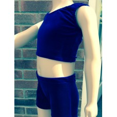 Electric Blue Crop Top and Shorts Set