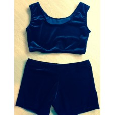 Plain Velvet Crop Top and Shorts Set